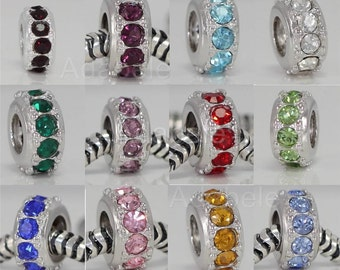 1 x Sterling Silver Charm Sparkle Birthstone Bead For European charm bracelet You Pick