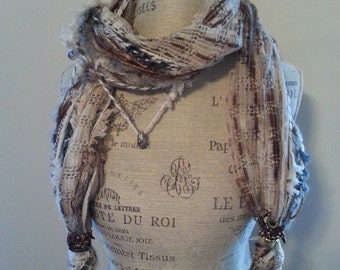 One of a Kind Hand Made Fashion Scarf in White Colorway