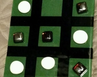 Fused Glass Tic Tac Toe Board with Pieces
