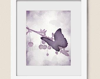 Lavendar Wall Decor Butterfly Wall Art 8 x 10 Print, Purple Girls Room Art Print, Home Decor, Butterfly Art, Purple Decor (394)