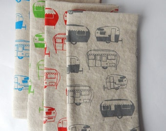 Cloth Napkins, Hand Printed Camper Trailer, Set of 4, Choose Your Color