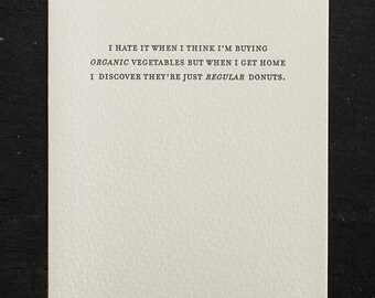 organic vegetables. letterpress card. #798