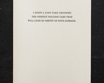 holiday: garbage. letterpress card. gold envelope #794
