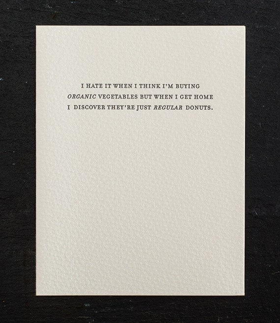 organic vegetables. letterpress card. #798