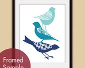 Stacked Cute Birds (B) - Art Print (Featured in Paris, Ocean and Deep Blue) Woodland Bird Art Print / Custom Colors