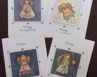 """Today...Happy Everything! Angel Notecards, 4 Different Designs, 5"""" x 7"""" Watercolor & Ink, Hand Made Cards, Greeting Cards, Thank You Cards"""