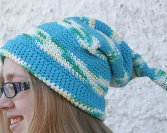 Elf Hat in Blue Cotton , Cotton Slouchy Hat in Blue , Crochet Hat , Striped Elf Hat