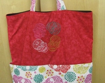 Damask Dia De Los Muertos Skull Collage Eco Friendly Tote, Purse, Bag