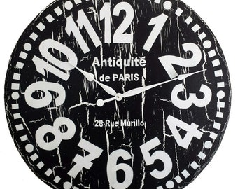 Large Wall Clock 30 Inch Murillo PARIS Heavy Crackle   Black U0026 White Tuscan  Antique Style