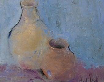 "Wall Art, Abstract Painting, ORIGINAL OIL Painting, Vase Art, Still Life Art, Ceramic Art, Miniature Painting ""Petie Vases"" by AndolsekArt"