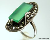 Antique Sterling Silver and Chrysoprase and Marcasite Art Deco Ring 1920s Size 6 1/2