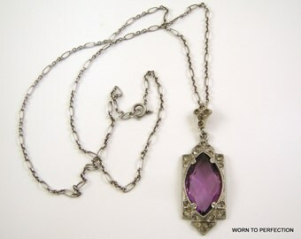 Pot Metal Art Deco Pendant with Purple Glass and Rhinestones
