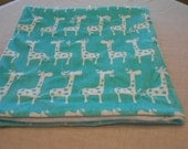 Giraffe Teal and White Cuddle Baby Quilt