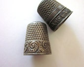 Antique Sterling Silver Thimbles Etched Design Sewing Notion