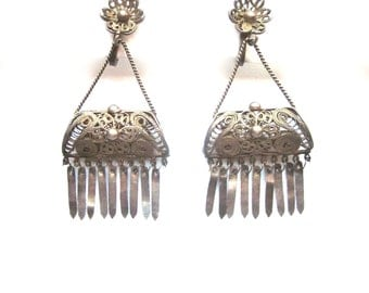 Vintage Sterling Silver Filigree Earrings Cannetille Sterling Silver Dangle Earrings Screw Back