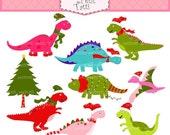 ON SALE Dinosaur clip art clipart - christmas clip art, Digital clip art for kids, Christmas Dinosaur, x mas, INSTANT Download Digital clip