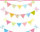 ON SALE Bunting set - Digital clip art, bunting flags clip art, bunting banner, instant download, bunting clip art