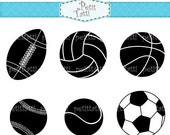 ON SALE sports clip art - baseball clip art, soccer ball clip art, tennis clip art, rugby ball, silhouette, black, instant download clip art