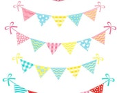 ON SALE Bunting set 2, Digital clip art  for all use, bunting clip art flag banner, instant download