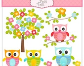 ON SALE owl clip art - flower tree clip art, Digital clip art (small commercial use), Owl and flowers tree, owls clipart
