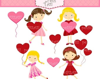 ON SALE girl clip art - valentine's day clip art, heart clip art, digital scrapbook, INSTANT Download clip art, wedding, engagement