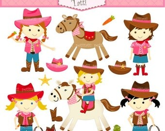 ON SALE Cowgirls clipart -digital cowgirl clipart - cute horse clipart , girl party invites, INSTANT Download