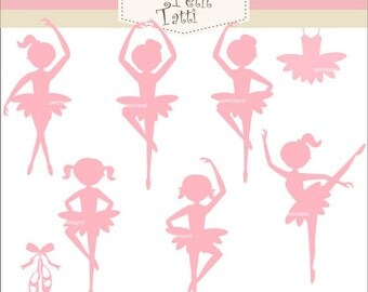 ON SALE Ballet girls clip art - pink silhouette Ballet girl clip art, instant download Digital clip art, Pink Ballet girls