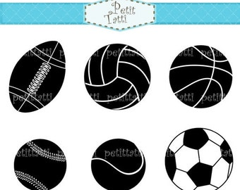 ON SALE sports clip art - baseball clip art, soccer ball clip art, tennis clip art, rugby ball, silhouette, black, instant download clip art