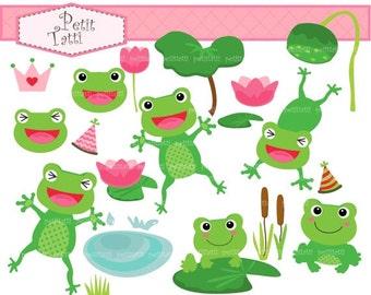 ON SALE frogs clip art clipart - Summer pond, hopping frog, cute frog clip art, instant download, green clip art, digital clip art