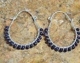 Blue goldstone wire wrapped sterling silver hoop earrings, goldstone earrings, goldstone jewelry, medium hoop earrings