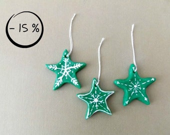 Green ornaments for Christmas tree. Rustic stars painted by hands made of corn starch clay - 15% OFF