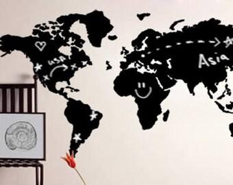 World Map Chalkboard Vinyl Wall Decal