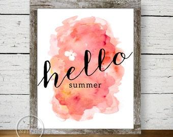 Hello Summer Watercolor Art Print Poster - Instant Download 8x10
