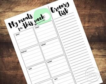 Printable Arrow Weekly Meal Planner