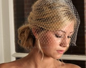 Wedding Veil - Birdcage Veil with Swarovski Crystals - Ivory, White or Black