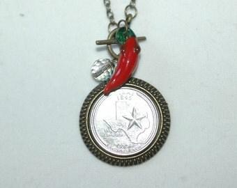 Texas Quater Charm Necklace , Texas Necklace , Texas Charm Necklace