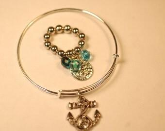 Sea Treasures Charm Bracelet and Ring Set, Beach Bangle and Ring Set,