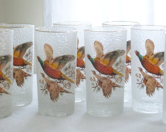 Vintage Frosted Duck Drinking Glasses, 8 Tall Textured Wild Life Bird Barware, Flying Geese Bar Tom Collins Glass, Pheasant Fowl Hunter