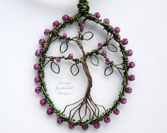 Cranberry purple tree pendant, wire tree pendant, tree of life pendant, purple tree necklace