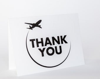 Thank You Card Travel Wedding Airplane A6 Folded Modern Graphic World Globe Trotter