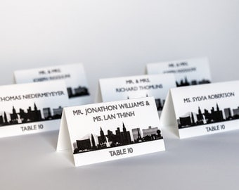 Las Vegas Place Cards Wedding Decor Escort Skyline Cityscape Handmade Custom Personalize Reception Sign
