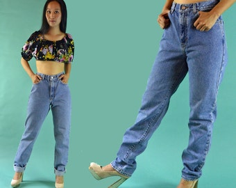 Vintage 80s High Waist Jeans Faded 80s Jeans / CALVIN KLEIN Jeans Slim Fit Jeans / High Waisted Jeans / Taper Jeans Mom Jeans 28