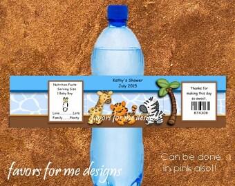 20 Blue Safari Thmemed Water Bottle Wrappers