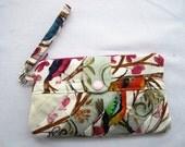 Wristlet  Wallet Pouch Quilted Bird fabrics Card holder -