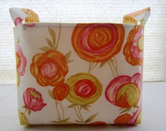 Organizer Storage Basket Bin Container Fabric - Yellow Flowers