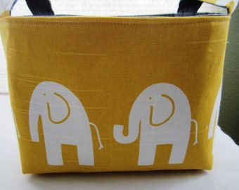 Fabric Organizer Basket Storage Container Yellow and White Elephant  Bin