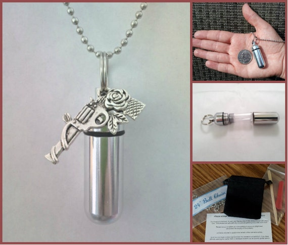 "COMPLETE SET - Cremation Urn & Vial on 24"" Necklace - with Rose Gun -  Custom Hand Assembled....w/Velvet Pouch and Fill Kit"