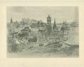 Edinburgh from Calton Hill, Scotland, Vintage Print 19, 1952, Robert Robertson, Britain World War 2, Library Office Decor, Scottish Heritage
