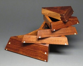 Pivoting Jewelry Box with Weighted Base, 'The Trapezoid Box', Granadillo and Jatoba with Maple Inlays