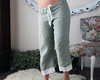 linen pajama pants in capri length - CHARM - made to order and ready to ship